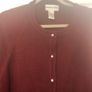 Burgundy cardigan with pearl/like buttons